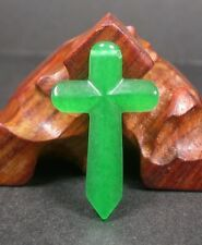 CHINESE Icy Green JADE PENDANT Jesus Cross Amulet 241432