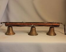"Antique Vintage BRASS HORSE SLEIGH BELLS Bell Shape 3 5/8"" diameter on Leather"