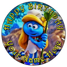 """THE SMURFS SMURFETTE PARTY - 7.5"""" PERSONALISED EDIBLE ICING CAKE TOPPER"""