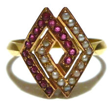 VINTAGE RETRO MODERN MID CENTURY RUBY SEED PEARL 14K YELLOW GOLD WOMENS RING