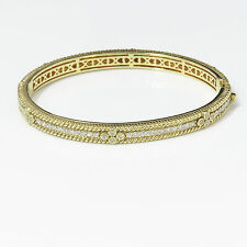 NYJEWEL Judith Ripka 18k Solid Gold Lovely 2.65ct Diamond Bangle Bracelet