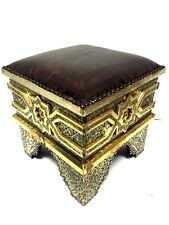 Moroccan Tribal Stool Bench Traditional Carved Metal & Brass Arabesque & Leather