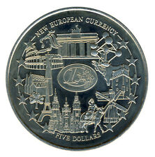 Liberia - 5 Dollars 2001 - Einführung Euro - Brandenburger Tor ATOMIUM ...