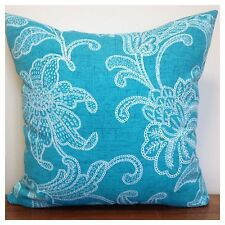 45x45cm Indoor/Outdoor Richloom Floral Stitch Print Blue/White Cushion Cover