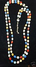 VENDOME Necklace Square Quartz Lapis Glass Bead 2 Strand  Fleur de Lis Modern