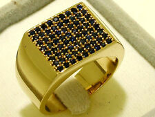 MR54 SOLID Genuine 9ct Gold NATURAL Sapphire HUGE Men's Pave Ring size T / 9.75