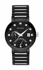 New Bulova 98D109 Black Ion Stainless Steel Black Dial Diamond Men's Watch