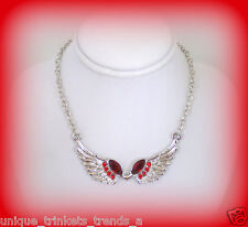 JANUARY BIRTHSTONE DARK GARNET RED CRYSTAL SILVER ANGEL WINGS NECKLACE PENDANT