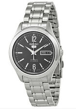 SEIKO MEN AUTOMATIC SEE THROUGH BLACK DIAL STEEL WATCH SNKM57 SNKM57K1