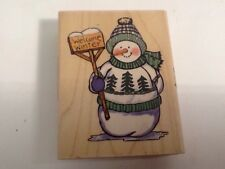 Brother Sister Studio Harvey Welcomes Winter Snowman Wood Mounted Rubber Stamp