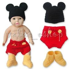 Newborn-12Months Mickey Mouse Costume Baby Kids Crochet Knit Outfit Photo Props