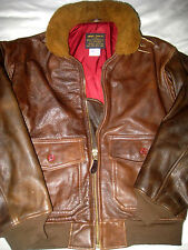 AVIREX VTG USA HAND TANNED LEATHER COCKPIT G-1 FLIGHT JACKET-MOUTON COLLAR- S