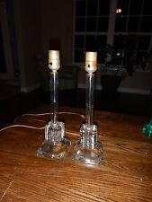 Pair of Vintage Glass Crystal Embossed Candlestick Boudoir Table Lamps Beautiful