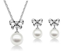 Wedding Bridal Jewellery Set Silver & White Pearls Bows Necklace & Earrings S545