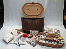 VINTAGE LERNER SEWING BOX BASKET WEAVE BROWN FAUX WOOD WITH TRAY AND CONTENTS