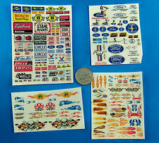 HO SLOT CAR STICKERS, FORD Edelbrock Champion STAHL Goodyear FLAMES, NOT DECALS