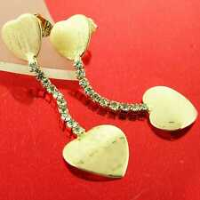 AN872 GENUINE 18K YELLOW G/F GOLD SOLID DIAMOND SIMULATED HEART DROP EARRINGS