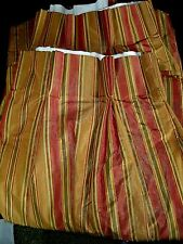 """Custom Made 2 Panels  Pinched Pleated Striped Lined Drapes Weighted 58""""w x 78""""L"""