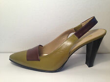 RUSSELL & BROMLEY khaki green brown all leather sling back shoes UK 4 1/2   37.5
