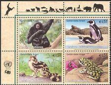 UN (V) 2002 Gibbon/Penguin/Toad/Cat/Animals/Birds/Nature/Wildlife 4v blk (b7529)