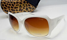 GUESS GUF200 WHT-35A Ladies White Frame Brown Lens Sunglasses NEW w/CASE