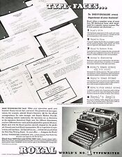 1936 BIG Vintage Royal Typewriter Co. Type-Face Fonts Photo Print Ad
