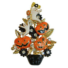 "Enchanted Halloween Tree Pin with Jack-o-Lanterns and Ghosts 2"" x 1-3/8"""