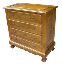 HAND CARVED LINDENWOOD CHEST OF 4 DRAWERS - FURNITURE