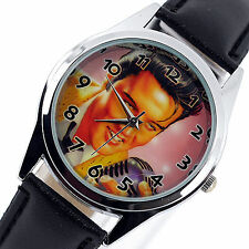 ELVIS PRESLEY WATCH Stainless Steel LEATHER MUSIC KING LEGEND ROUND CD WATCH E1