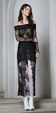 Designer Alessandra Rich Black Off The Shoulder Lace Cocktail Sexy Dress Size 42