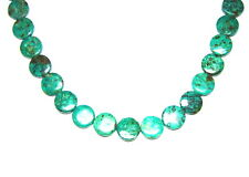 """15.5"""" NATURAL African Turquoise Disk Coin Grade A 28 Beads 14mm K4912"""