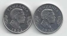 2 DIFFERENT 1 SHILINGI COINS from TANZANIA (1990 & 1992)