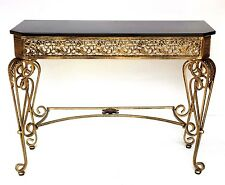 Hall Table Console Table Iron Frame in Gold Color with Black Color Glass Top NEW