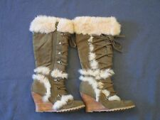 Women's Nordstrom Green Suede w/ Fur Lace Up High Heeled Wedge Boot Size 6.5
