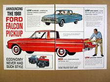 1961 Ford Falcon Ranchero Pickup red truck illustration art vintage print Ad