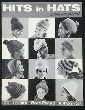 Hits in Hats to Knit & Crochet Fleisher Bear Brand Botany Book 1965