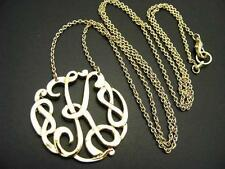 """$16 Carole Initial *K* Scroll Italics Pendant & Chain Necklace Goldtone 32"""" Long"""