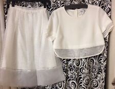 Elizabeth And James  2pc White Pannel Skirt And Top Size 0 NWT $600