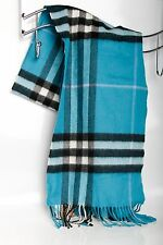 Authentic $475 Burberry London Giant Icon Check Cashmere Scarf DUSTY TEAL BLUE