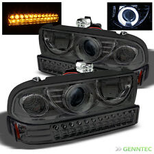 For Smoked 98-04 Chevy S10 Blazer Halo Pro Headlights Head Lights+LED Bumper