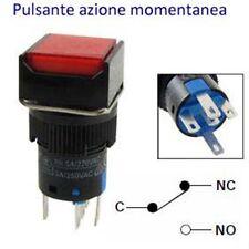 PULSANTE LUMINOSO D= 16mm LAS1series CONTATTO 1NANC LED ROSSO 12V 250V 5A