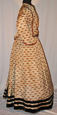 ANTIQUE DRESS LATE1860 SILK TAFFETA PLAID LADIES GOWN PAGODA SLEEVES FOR STUDY
