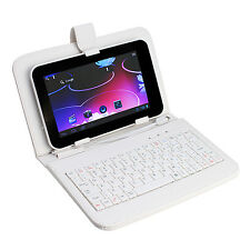 "White USB Keyboard Leather stand Case Cover For 7"" 7 inch Android Tablet PC New"