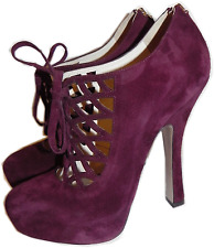 PRADA Burgundy Suede  Cut-out Lace-up Platform Ankle Booties Pump 38.5 Boots