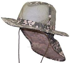 Summer Wide Brim Mesh Safari/Outback Hat W/Neck Flap #982 Digital Camo M