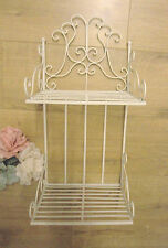 Chic Shabby Scroll Design Cream Metal Wall Shelf Rack Shelves French Vintage