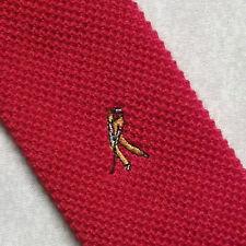 Red golf plat fin tricoté crochet vintage Mod cravate 1970's 1980's Retro 4,5 cm fin