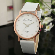 Fashion Women's Diamond Leatheroid Band Round Dial Quartz Wrist Watch WH A