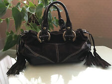 Francesco Biasia brown leather and suede medium size hand bag tassel pull sides