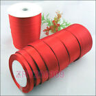 25 Yards Red Satin Ribbon Hair Bow Craft/Gift Wrapping 6mm-50mm R0193